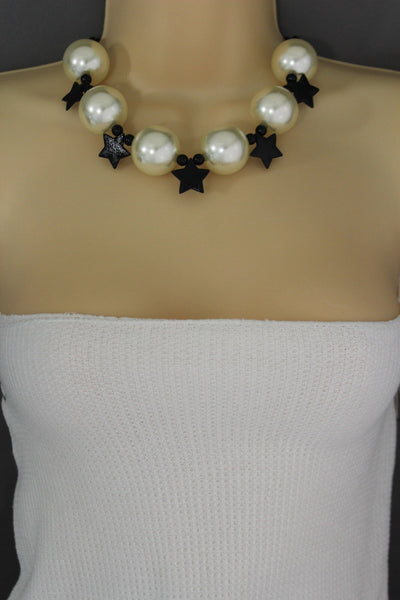 Black / Silver / Gold / Red / White Metal Stars Ball Beads Short Ivory Necklace + Earring Set New Women Fashion Jewelry - alwaystyle4you - 13