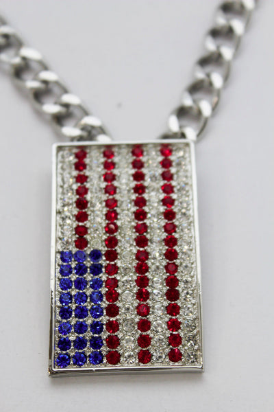 Silver Metal Chain Links Long Necklace USA American Flag Pendant 3D New Men Fashion Accessories - alwaystyle4you - 12