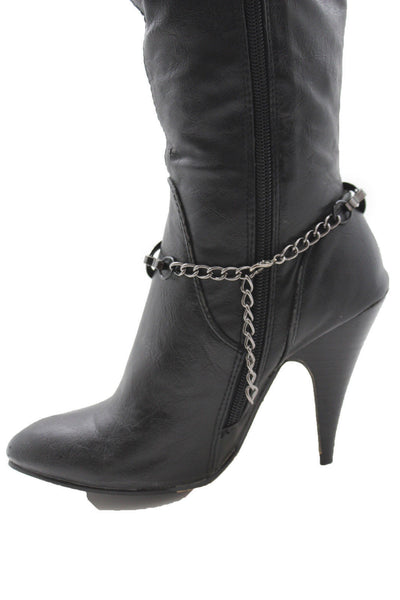Silver Gunmetal / Pewter Metal Boot Chains Bracelet Bow Oval Anklet Bling Shoe Charm New Women Western - alwaystyle4you - 13