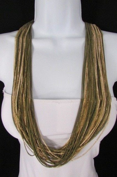 Silver Black / Antique Gold Thin Multi Chains Long Necklace + Earrings Set New Women Fashion - alwaystyle4you - 16