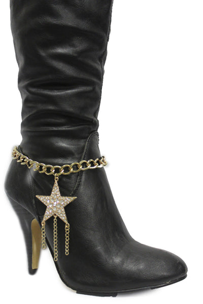Gold Silver Metal Chain Big Falling Star Anklet Shoe Charm New Women Western Boot Bracelet - alwaystyle4you - 13