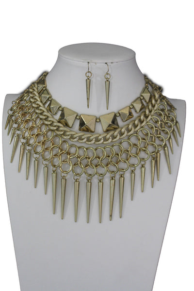 Gold / Black Gold Long Metal Chain Strand Spikes Charm Necklace + Earring Set New Women Fashion Jewelry - alwaystyle4you - 9