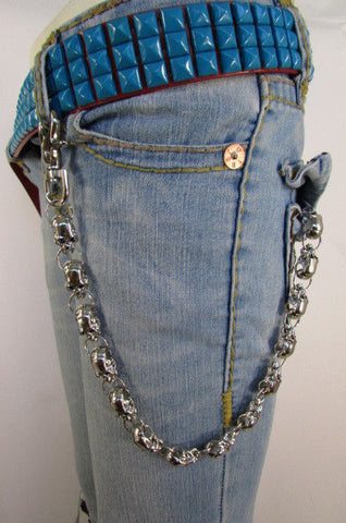 Silver Metal Long Wallet Jeans Chains Thick Skulls Biker Chunky Truck New Men Accessories