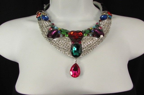 Silver Metal Multicolor Alloy Charm Bib Necklace New Women Fashion Jewelry - alwaystyle4you - 11