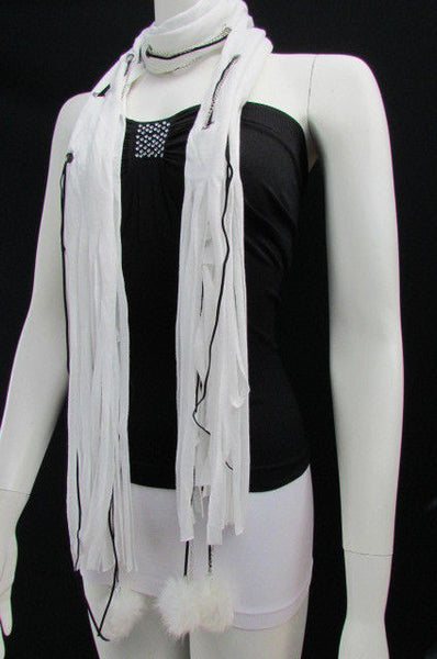New Women Fashion Soft White Fabric Scarf Mini Faux Fur Balls Black Chains - alwaystyle4you - 4