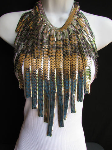 "Dressy Casual Wide Multi Strand Gold / Silver Links Chains Wide Metal New Women Necklace 20"" - alwaystyle4you - 23"