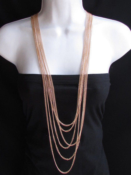Long Gold / Silver Two Elegant Necklaces + Earring Set Thin Links New Women Fashion Jewelry - alwaystyle4you - 10