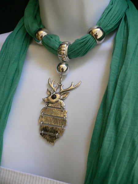 Green  / Red / White / Blue / Beige / Pink / Mustard Long Soft Scarf Necklace Silver Metal Deer Head Pendant For Christmas New Women Fashion - alwaystyle4you - 43