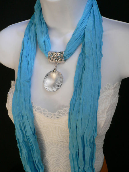 Light Blue Necklac Scarf Big Silver Crystal Flower Pendant Glass New Women Fashion - alwaystyle4you - 12