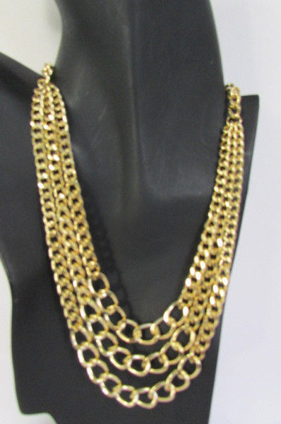 Gold Three Thick Chains Links Strands Necklace + Earrings Set New Women Trendy Fashion - alwaystyle4you - 14