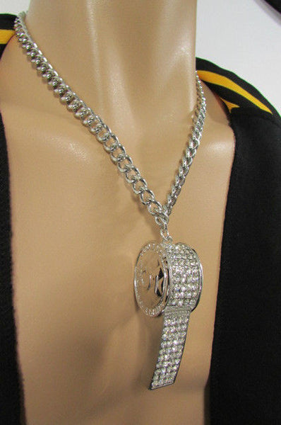 Silver Gold Metal Chains Necklace / Large Whistle Rhinestones Pendant New Men Women Fashion - alwaystyle4you - 18