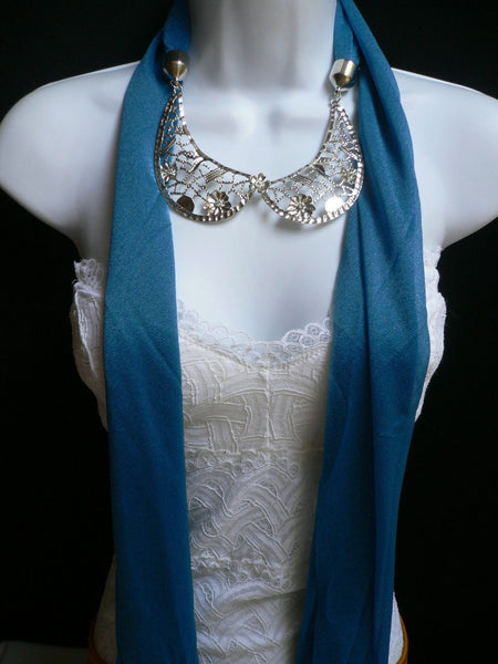 Royal Blue Fashion Scarf Necklace Silver Metal Flowers Collar Pendant New Women Jewelry - alwaystyle4you - 8