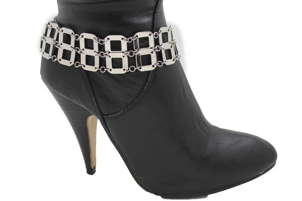 Silver Metal Boot Chains Bracelet Sqaure Geometric Anklet Bling Shoe Charm New Women Western Fashion - alwaystyle4you - 6