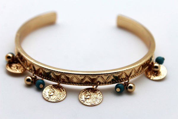 Gold Metal High Arm Cuff Bracelet Skinny Wrap Around Coins New Women Fashion Jewelry - alwaystyle4you - 3