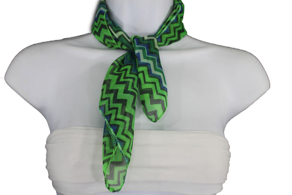 Bright Green Neck Scarf Fabric Black Chevron Print Pocket Square New Women Accessories Fashion - alwaystyle4you - 6