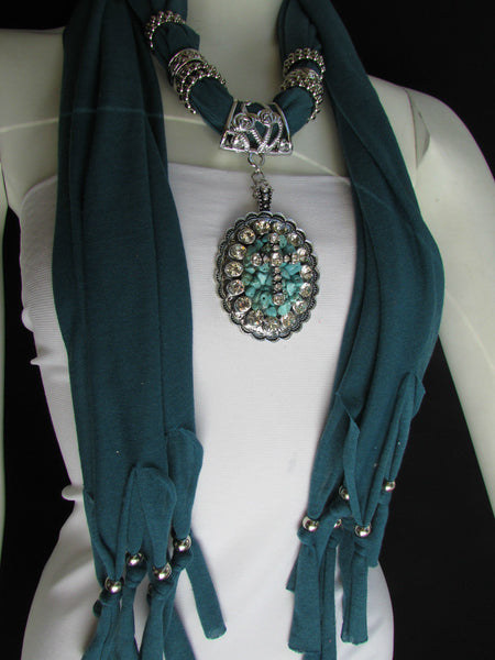 Blue Pink Beads Fabric Scarf Long Necklace Rhinestones Cross Pendant New Women Fashion - alwaystyle4you - 9