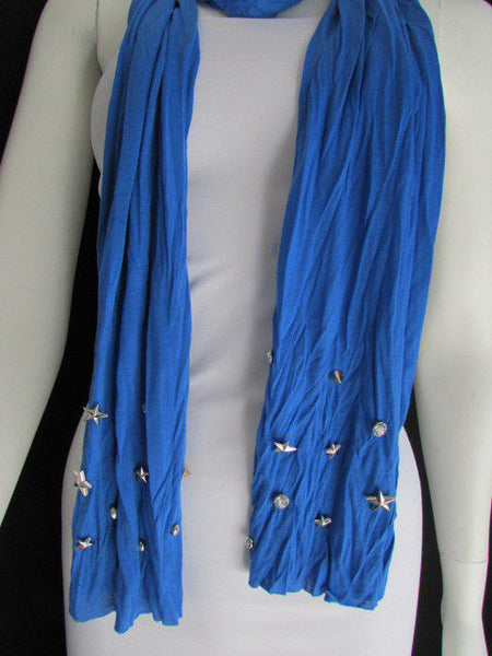 New Women Soft Fabric Fashion White / Blue /  Gray / Black Scarf Long Necklace Silver Metal Stars Studs - alwaystyle4you - 21