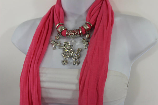 Blue, Black, L. Pink, Pink Fuscia Soft Fabric Scarf Silver Metal Poodle Dog Pendant New Women Fashion - alwaystyle4you - 19