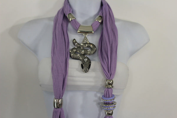 Women Lavender Fashion Scarf Fabric Silver Metal Snake Pendant Necklace Lilac - alwaystyle4you - 9