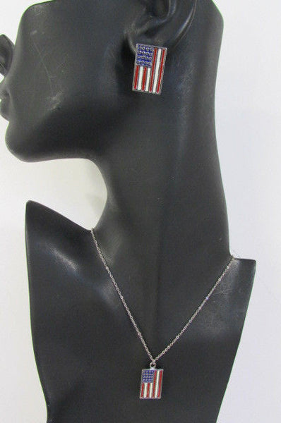 USA American Flag Star/Square/Heart Silver Metal Necklace + Matching Earring Set New Women - alwaystyle4you - 3