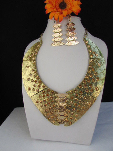 Gold /  Silver Metal Plates Snake Skin Rhinestones Necklace + Earrings Set New Women Fashion - alwaystyle4you - 10