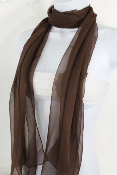 Dark Brown Dark Green Dark Blue Brown Neck Scarf Long Soft Sheer Fabric Tie Wrap Classic New Women Fashion - alwaystyle4you - 9