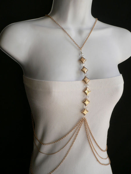 New Women Gold Square Clear Beads Long Metal Body Chain Moroccan Fashion Jewelry - alwaystyle4you - 9