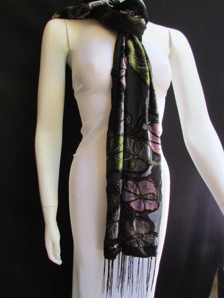 Black Long Fabric Neck Scarf Metallic Big Flowers Faux Velvet New Women Fashion Fashion - alwaystyle4you - 12
