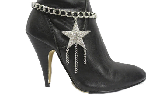 Gold Silver Metal Chain Big Falling Star Anklet Shoe Charm New Women Western Boot Bracelet - alwaystyle4you - 1