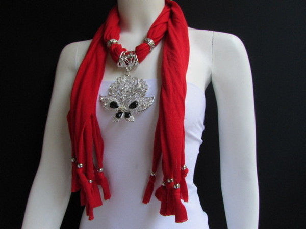 Black Blue Purple Pink Brown Dark Gray Red Bright Coral Green Soft Fabric Scarf Necklace Silver Flowers Butterfly Pendant New Fashion Accessory - alwaystyle4you - 91