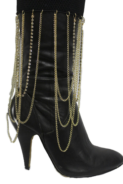 Gold Metal Boot Bracelet Chain Long Drop Bling Anklet Elastic Band New Women Western Hot Accessories - alwaystyle4you - 1