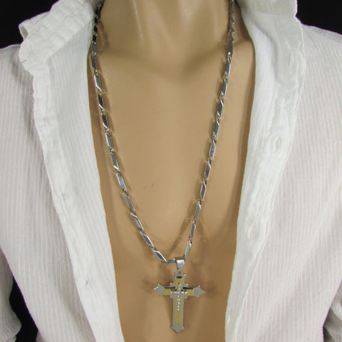 Silver Stainless Steel Metal Chain Links Necklace 3D Gold / Silver Cross Pendant New Men Classic Fashion - alwaystyle4you - 1