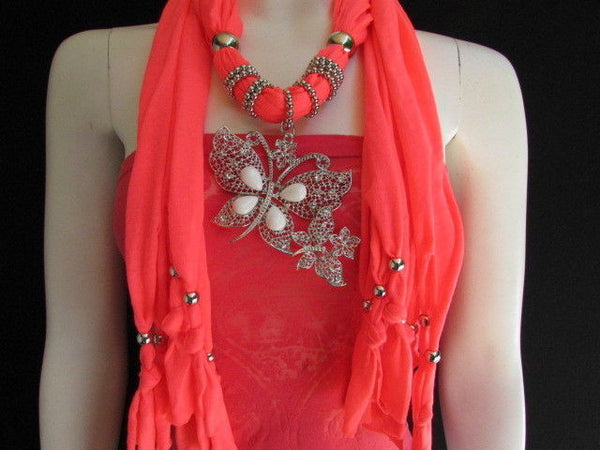 Dark Gray Blue Orange Red Brown Purple Pink Green Soft Fabric Scarf Long Necklace Huge Butterfly Pendant New Women Fashion - alwaystyle4you - 92