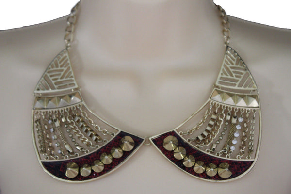 Bronze / Gold Short Bib Metal Chains Collar Spikes Necklace + Earrings Set New Women Fashion Jewelry - alwaystyle4you - 1