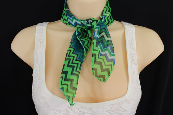 Bright Green Neck Scarf Fabric Black Chevron Print Pocket Square New Women Accessories Fashion - alwaystyle4you - 7