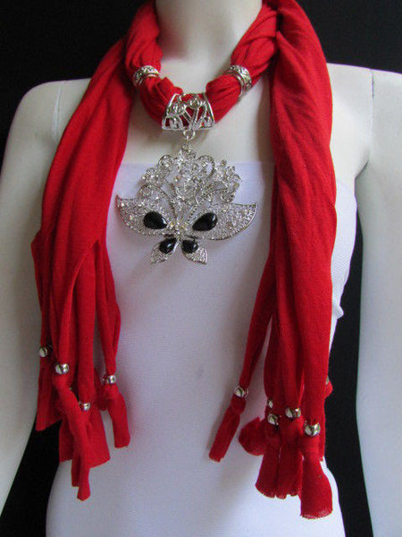 Black Blue Purple Pink Brown Dark Gray Red Bright Coral Green Soft Fabric Scarf Necklace Silver Flowers Butterfly Pendant New Fashion Accessory - alwaystyle4you - 94
