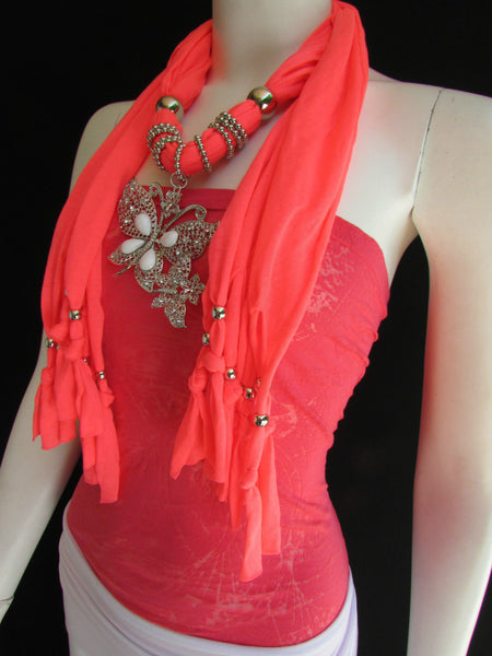 Dark Gray Blue Orange Red Brown Purple Pink Green Soft Fabric Scarf Long Necklace Huge Butterfly Pendant New Women Fashion - alwaystyle4you - 96