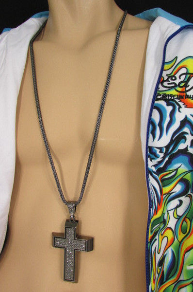 Pewter / Silver Metal Chains Long Necklace Boarded Cross Pendant New Men Hip Hop Fashion - alwaystyle4you - 6