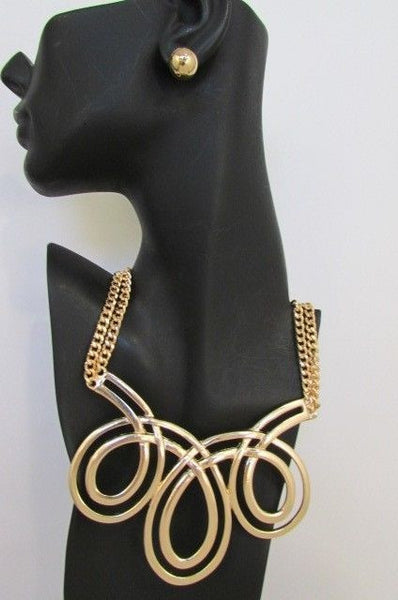 Gold Or Silver Big Circles Twisted 3 Drops Chain Necklace Earring Set New Women Chunky Fashion Accessories