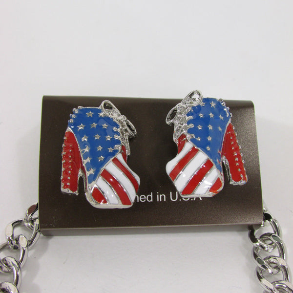 Large Metal High Heels Shoes Pendant Fashion Chains Gold / Silver Rhinestones American Flag USA Stars Necklace + Earrings Set - alwaystyle4you - 15