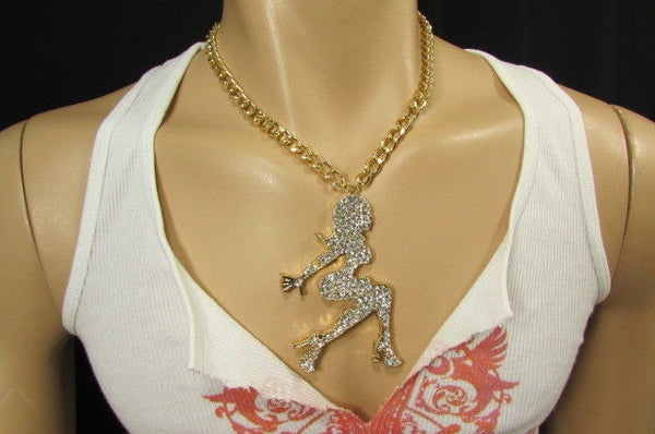 Gold Metal Chains Fashion Necklace Big Silver Rhinestone Sexy woman Shape Pendant New Men Fashion - alwaystyle4you - 11