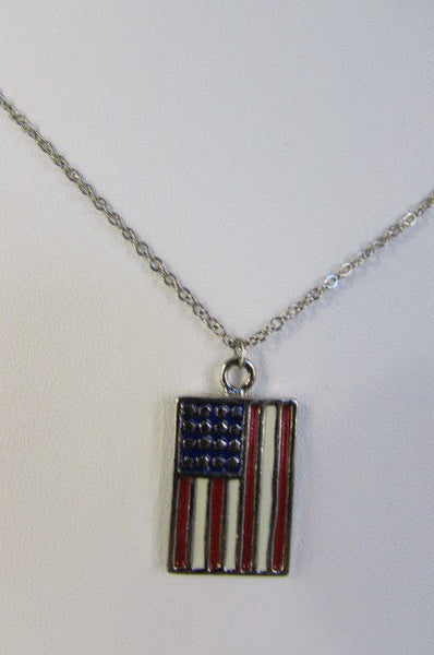 USA American Flag Star/Square/Heart Silver Metal Necklace + Matching Earring Set New Women - alwaystyle4you - 34