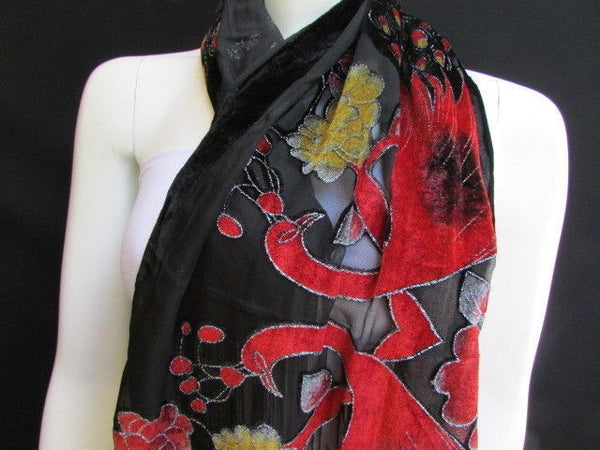 Women Neck Scarf Fashion Black Fabric Red Yellow Peacock Feathers Faux Velvet - alwaystyle4you - 3