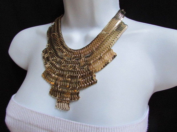 Wide 6 Strands Gold Links Chains Metal Statement Necklace + Matching Earrings Set New Women - alwaystyle4you - 10