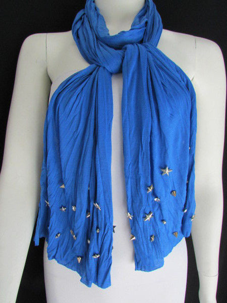 New Women Soft Fabric Fashion White / Blue /  Gray / Black Scarf Long Necklace Silver Metal Stars Studs - alwaystyle4you - 22