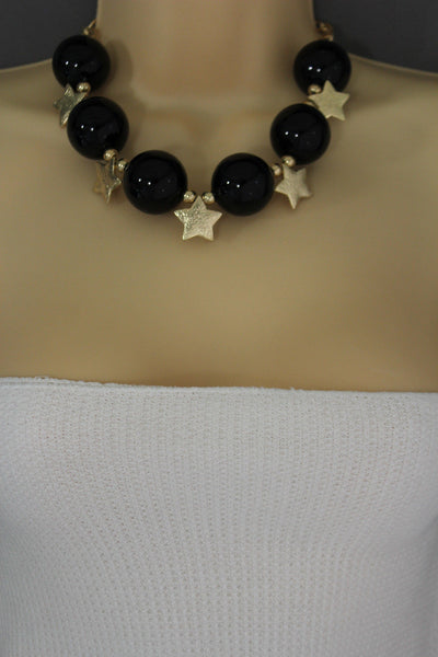 Black / Silver / Gold / Red / White Metal Stars Ball Beads Short Ivory Necklace + Earring Set New Women Fashion Jewelry - alwaystyle4you - 25