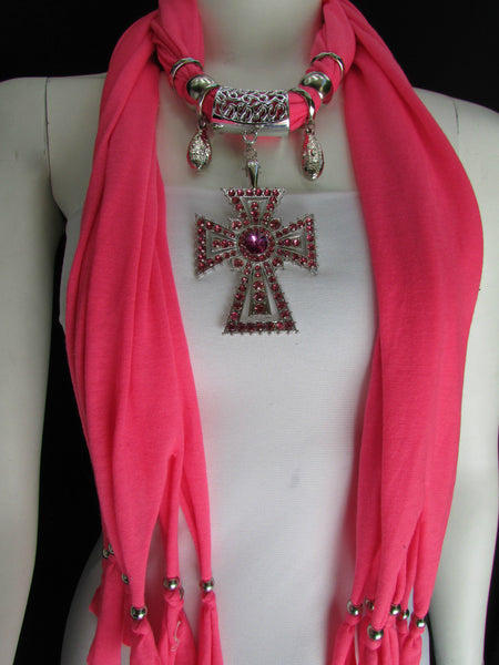 New Women Soft Fabric Dark Brown / Pink Scarf Necklace Western Rhinestones Cross Pendant - alwaystyle4you - 10