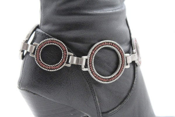 Antique Gold Red Dark Silver Black Rings Anklet Bling Shoe Charm New Women Boot Bracelet Metal Chain - alwaystyle4you - 1