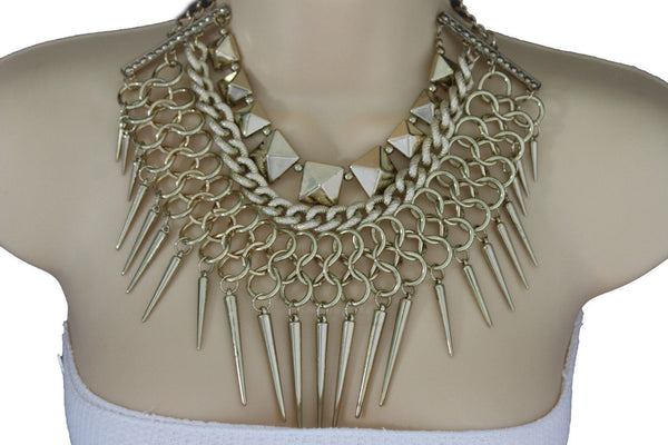 Gold / Black Gold Long Metal Chain Strand Spikes Charm Necklace + Earring Set New Women Fashion Jewelry - alwaystyle4you - 10