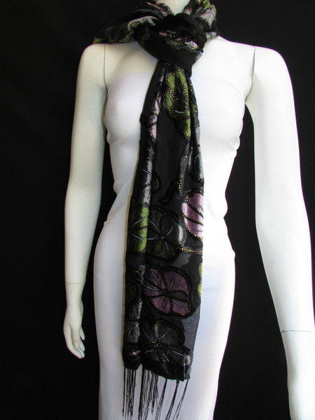 Black Long Fabric Neck Scarf Metallic Big Flowers Faux Velvet New Women Fashion Fashion - alwaystyle4you - 9